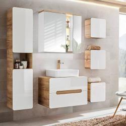 Photo of Badezimmer Set mit Keramik-Waschtisch Luton-56 Hochglanz weiß, Wotaneiche BxHxT ca. 180x195x46cm Lom