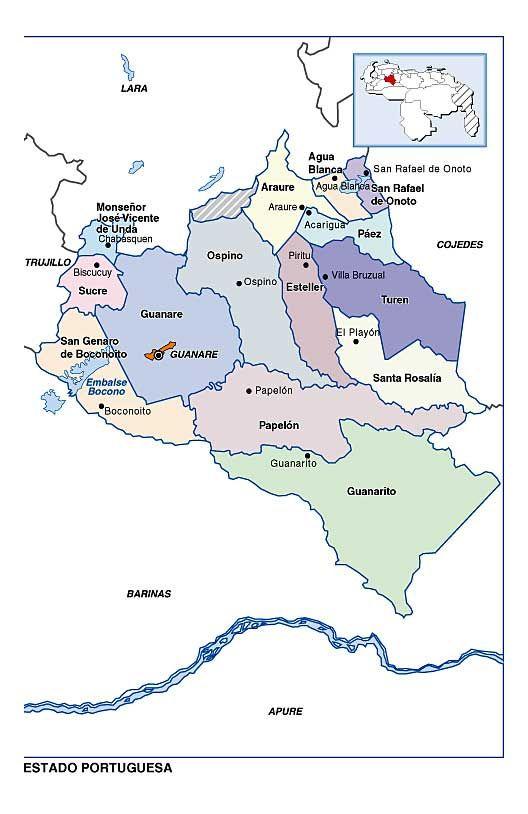 Mapa Politico Del Estado Portuguesa Mapa Politico Mapas Venezuela