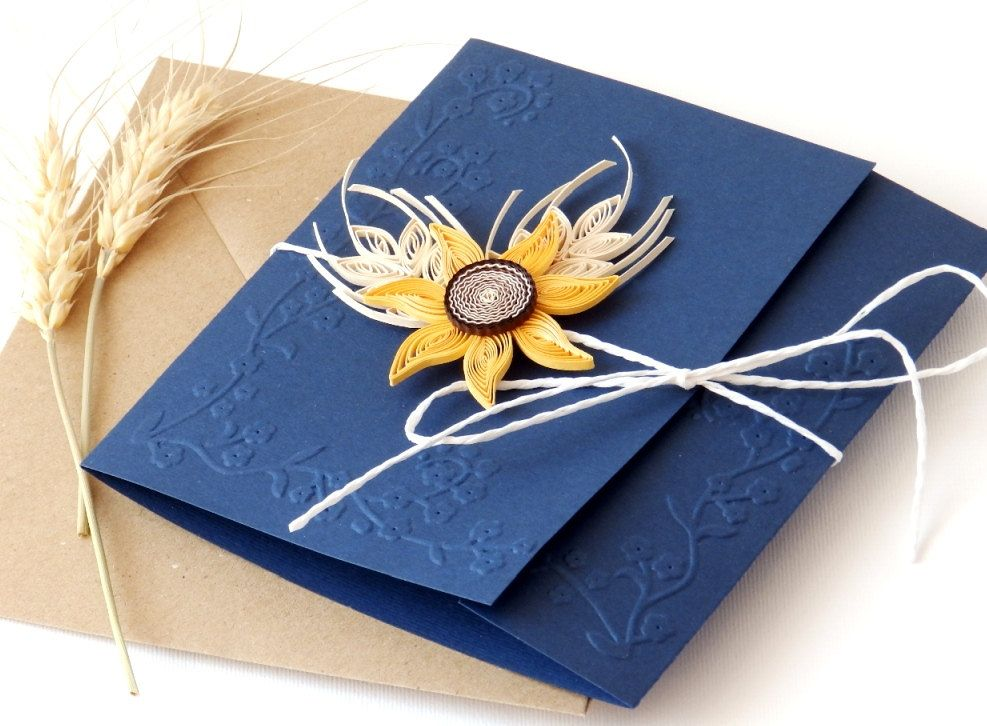Wedding Invitations Handmade: Handmade Sunflower Wedding Invitation/Sunflower And Wheat