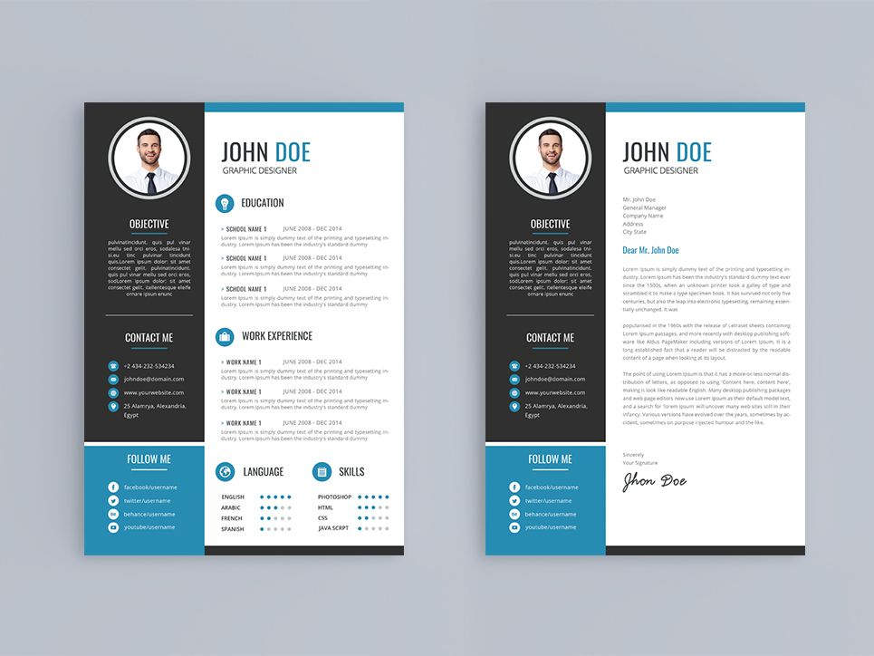 John Doe Resume Template +Business Card Resume Template