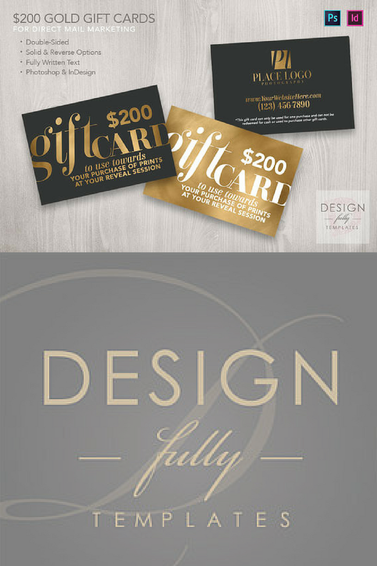 Gift Card Or Voucher Design Template With Gold Foil For Photoshop
