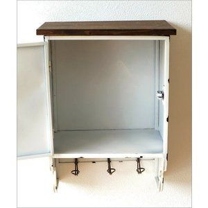Wall cabinet antique retro fashionable iron wooden storage with door entrance wall rack wall …