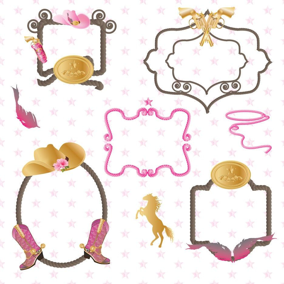 Western Cowgirl Rope Border Clipart Graphics High Resolution Etsy Clip Art Borders Western Clip Art Clip Art