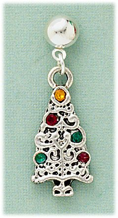 Pierced Earring Silver posted BALL antiqued red green Christmas tree