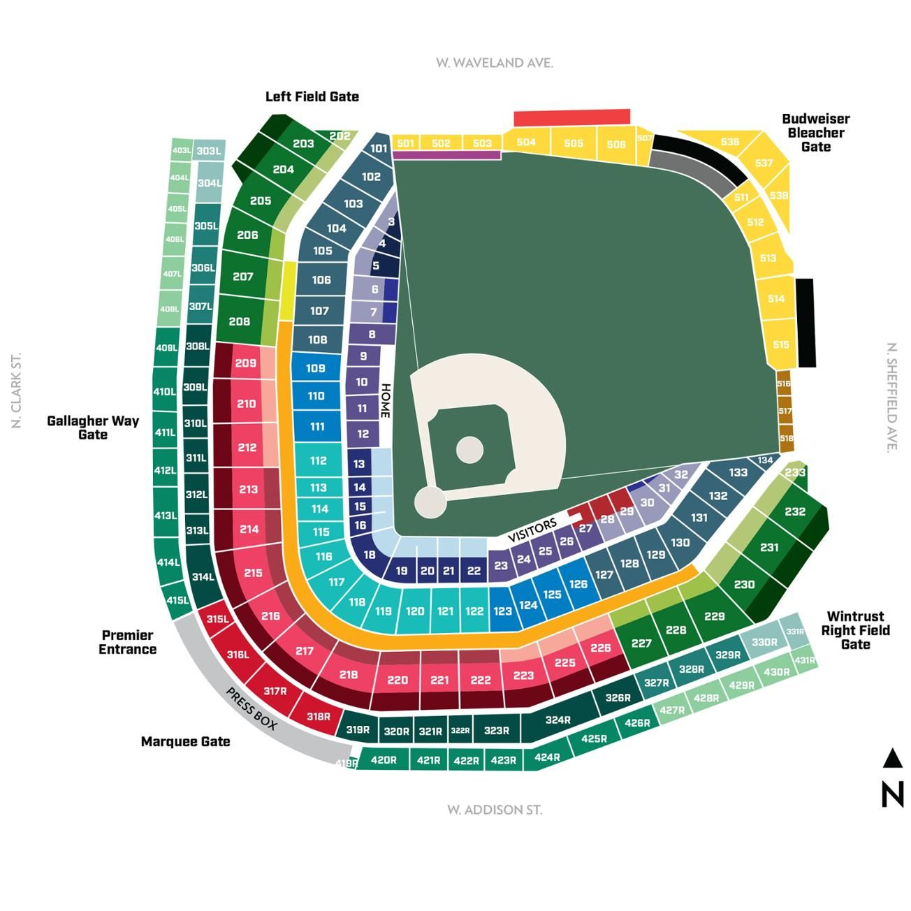 Wrigley Field Seating Map Wrigley Field Chicago Cubs Cubs Tickets