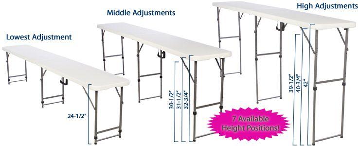 8.5u0027 Folding Table, Height Adjustable   White