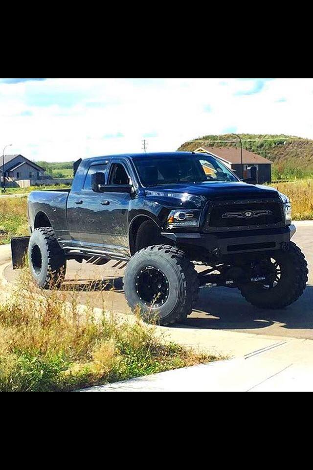Big All Blacked Out Dodge Cummins Mega Cab Cummins Trucks Dodge Trucks Diesel Trucks