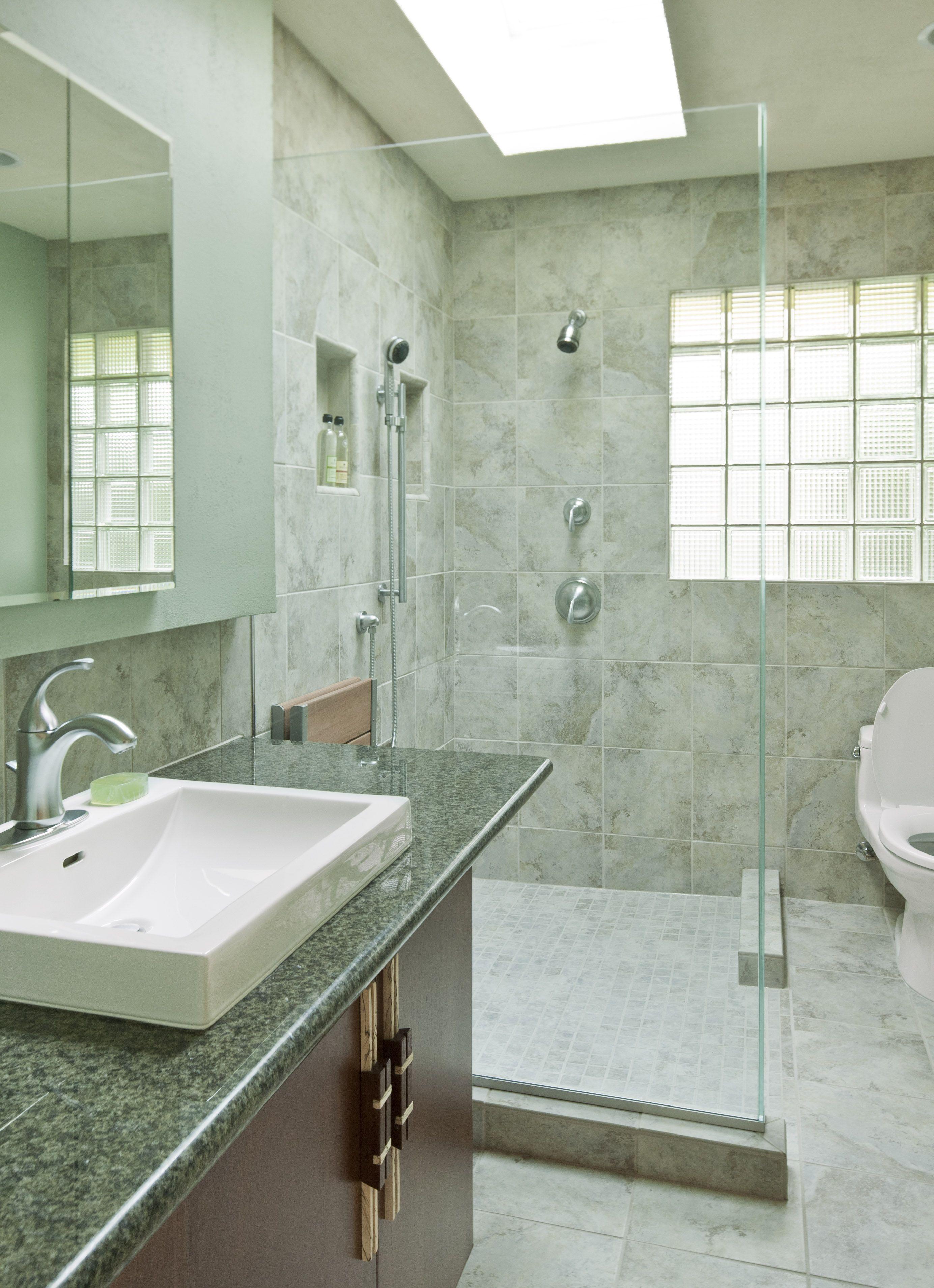 Calming Green Bathroom With Shower  Model Remodel Seattle Wa Interesting Bathroom Remodel Seattle Design Decoration