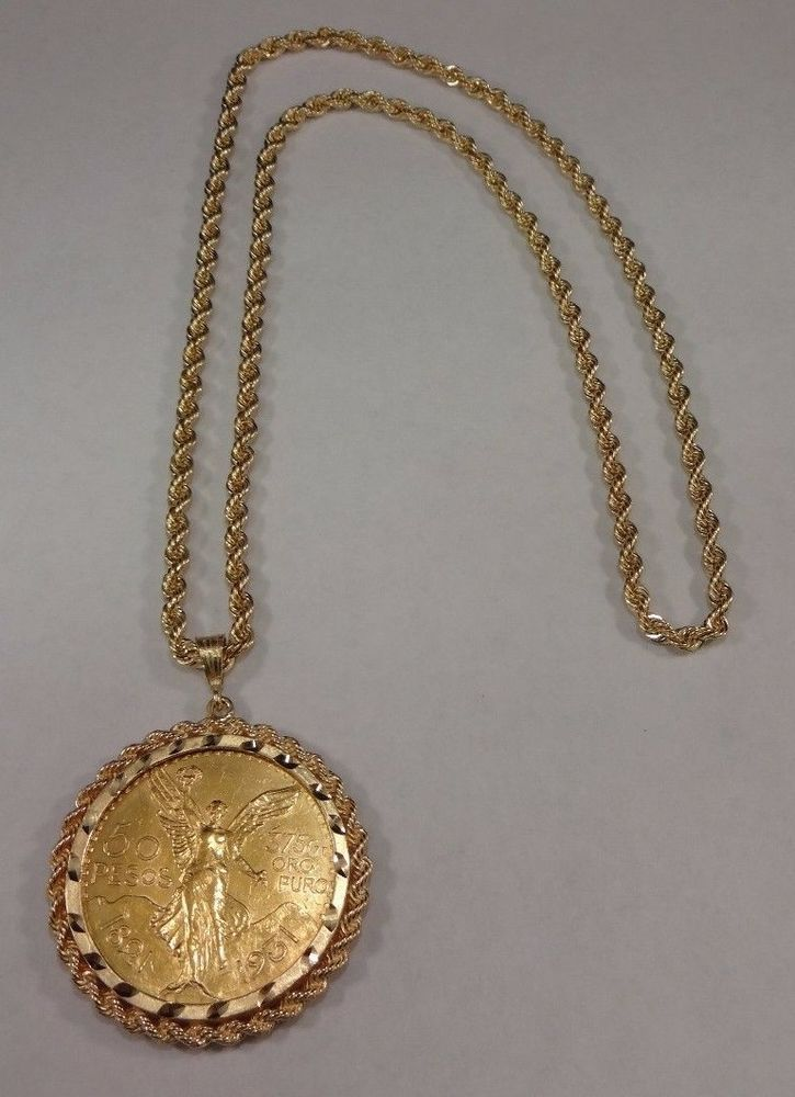 Impressive 14k Yellow Gold Rope Necklace Chain 21 6k 50 Pesos Gold Coin Bezel Gold Coins Chains Necklace Rope Necklace