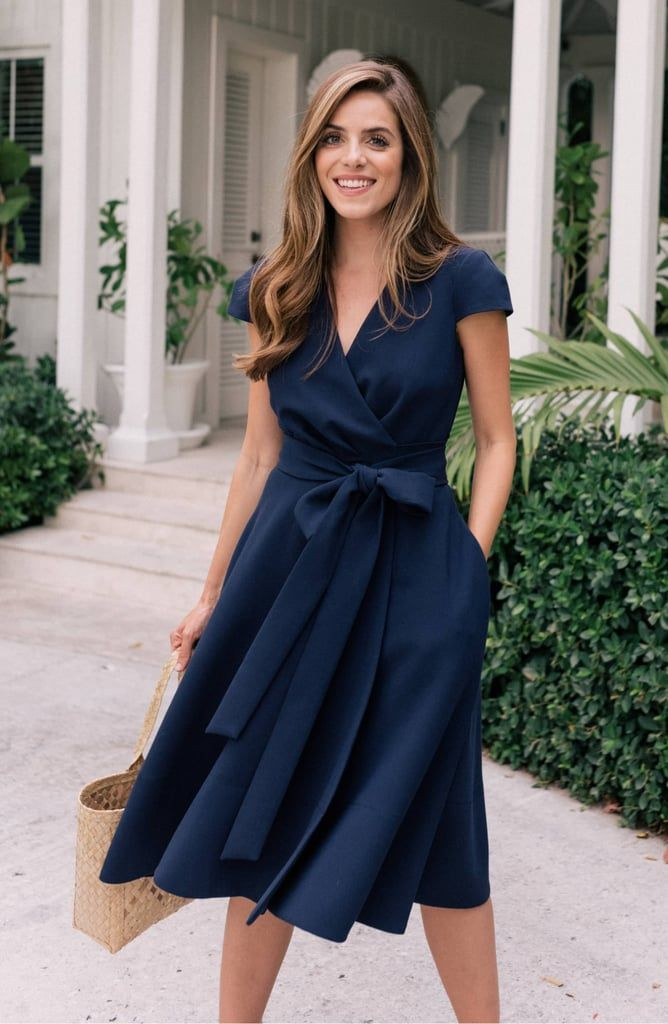 Gal Meets Glam Collection Fit & Flare Wrap Dress - Flare dress outfit, Summer work dresses, Glam dresses, Dresses for work, Pretty dresses, Classy dress - We love that this Gal Meets Glam Collection Fit & Flare Wrap Dress ($188) has pockets