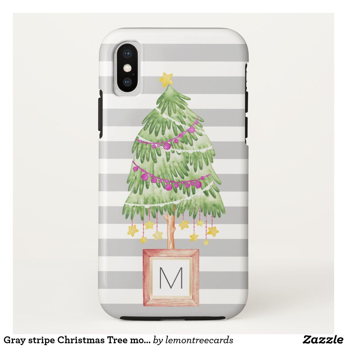 Gray Stripe Christmas Tree Monogram Iphone X Case  Grey Stripes