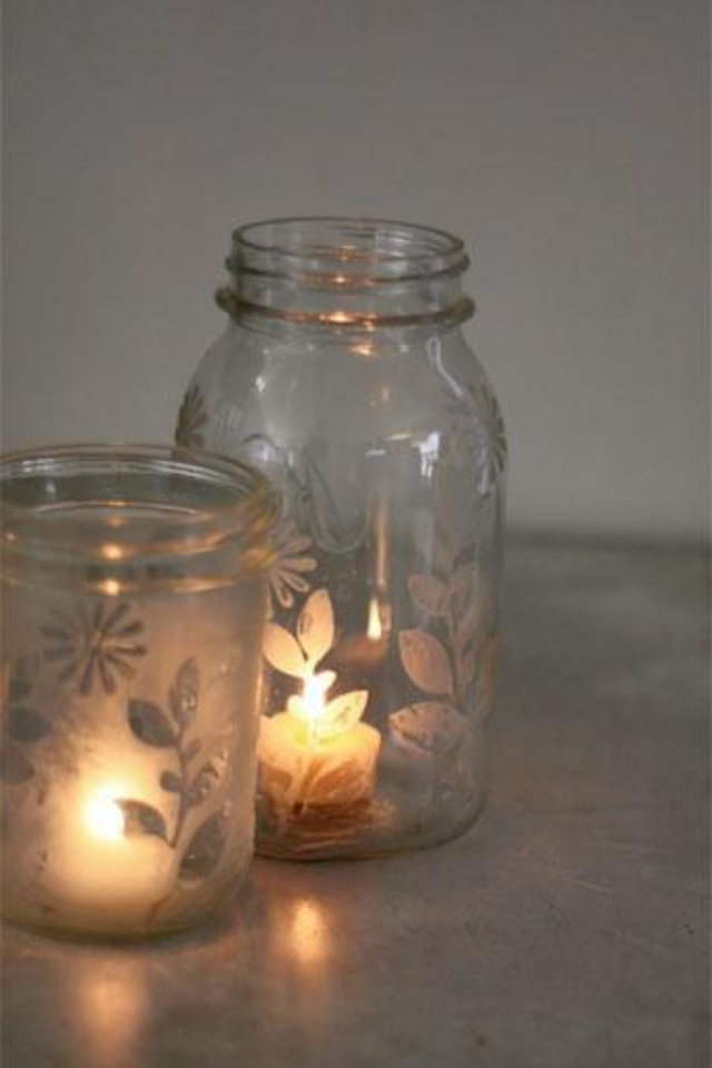 frosted jars n candles
