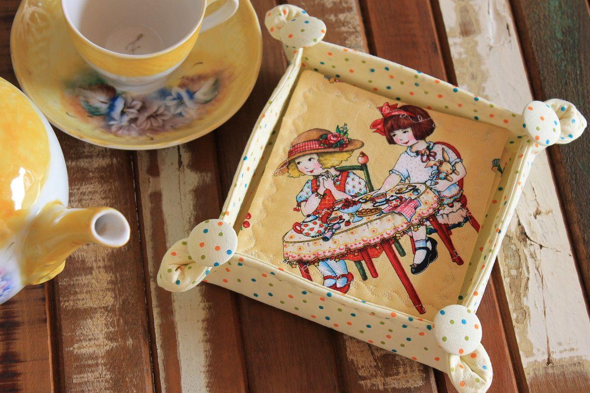 Kit Porta Copos / Coasters com cestinha