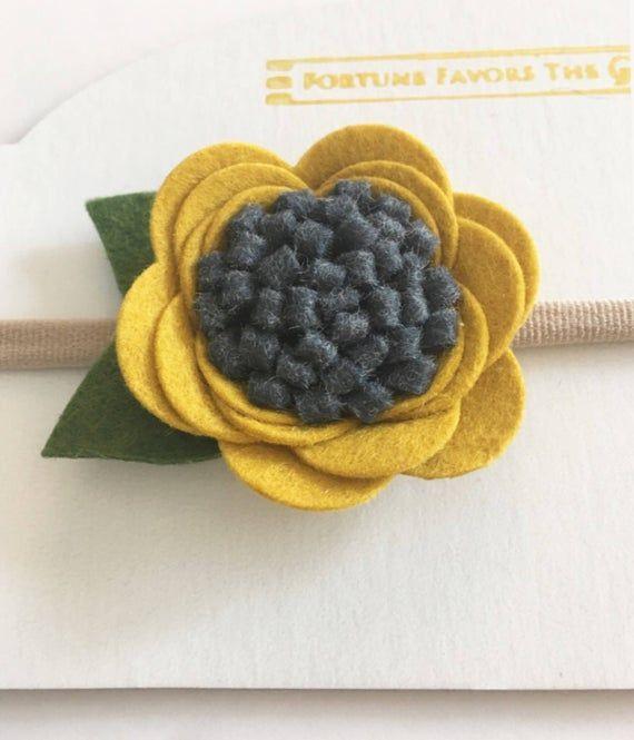 Mustard Yellow Felt Flower Headband, Mustard Yellow and Charcoal Flower Nylon Band, Flower Photo Prop Headband, Newborn Photoshoot Hea #feltflowerheadbands