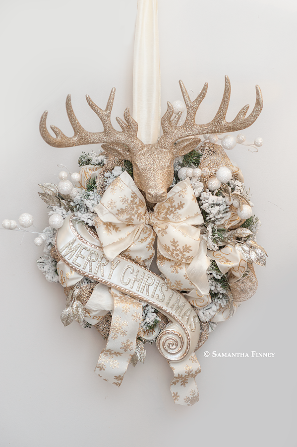 Gold Stag Head Wreath With Merry Christmas Scroll Black Christmas Decorations Gold Wreath Christmas Rose Gold Christmas Decorations