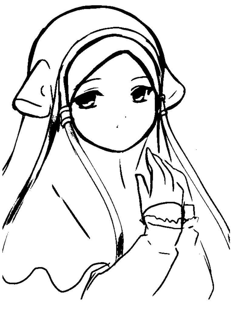 Hasil Gambar Untuk Mewarnai Kartun Hijab
