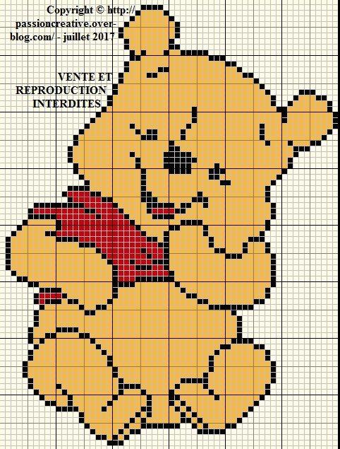 Grille gratuite point de croix : Winnie l'ourson (2017-1) | Winnie l'ourson, Winnie, Point de croix