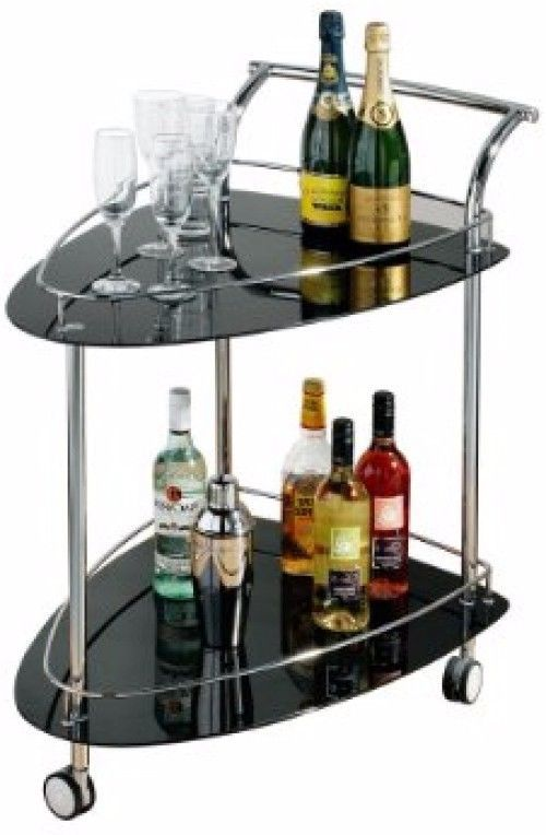 #Serving #trolley Tea Drinks Food Cart Glass Shelves Wheels #trolleys Side # Table