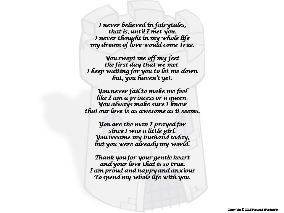 Poem from Bride to Groom Print, Bride's Toast to the Groom