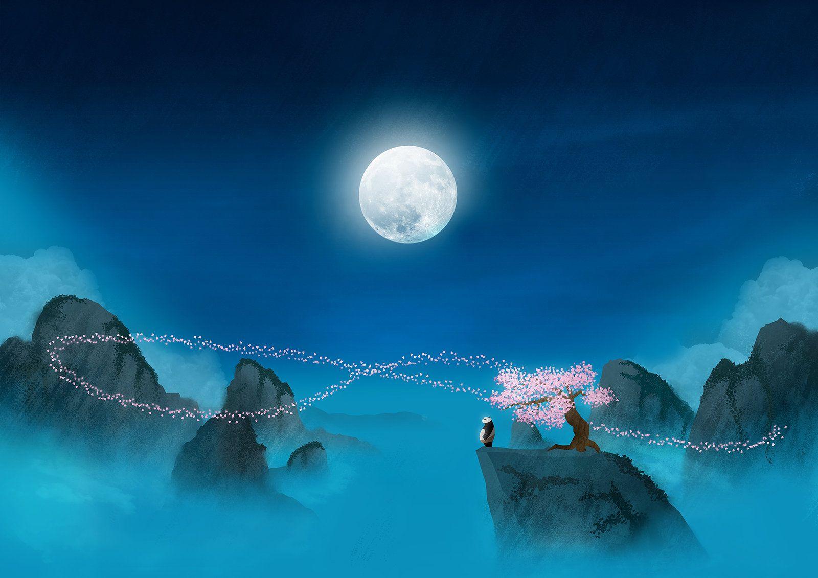 Kung Fu Panda Peach Tree At Night Poster Etsy Kung Fu Panda Kung Fu Panda Tree Hd wallpaper panda meditating on moon