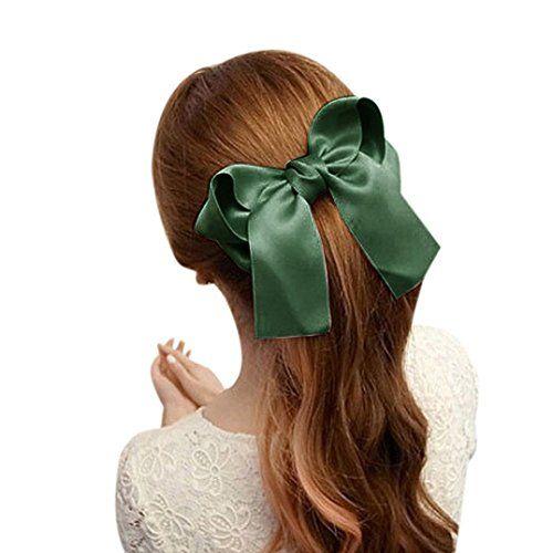 Coromose Women Girls Cute Large Big Satin Hair Hair Clip Boutique Ribbon Bow (Green) - http://todays-shopping.xyz/2016/08/25/coromose-women-girls-cute-large-big-satin-hair-hair-clip-boutique-ribbon-bow-green/