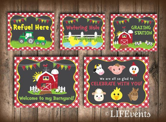 Farm Birthday Party Decorations Signs Barnyard Digital File Busy Bees Happenings INSTANT DOWNLOAD