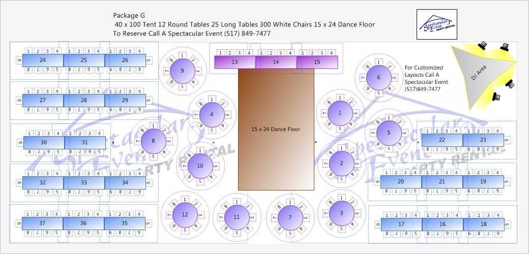 100 X 40 Tent Layout 200 People - Google Search
