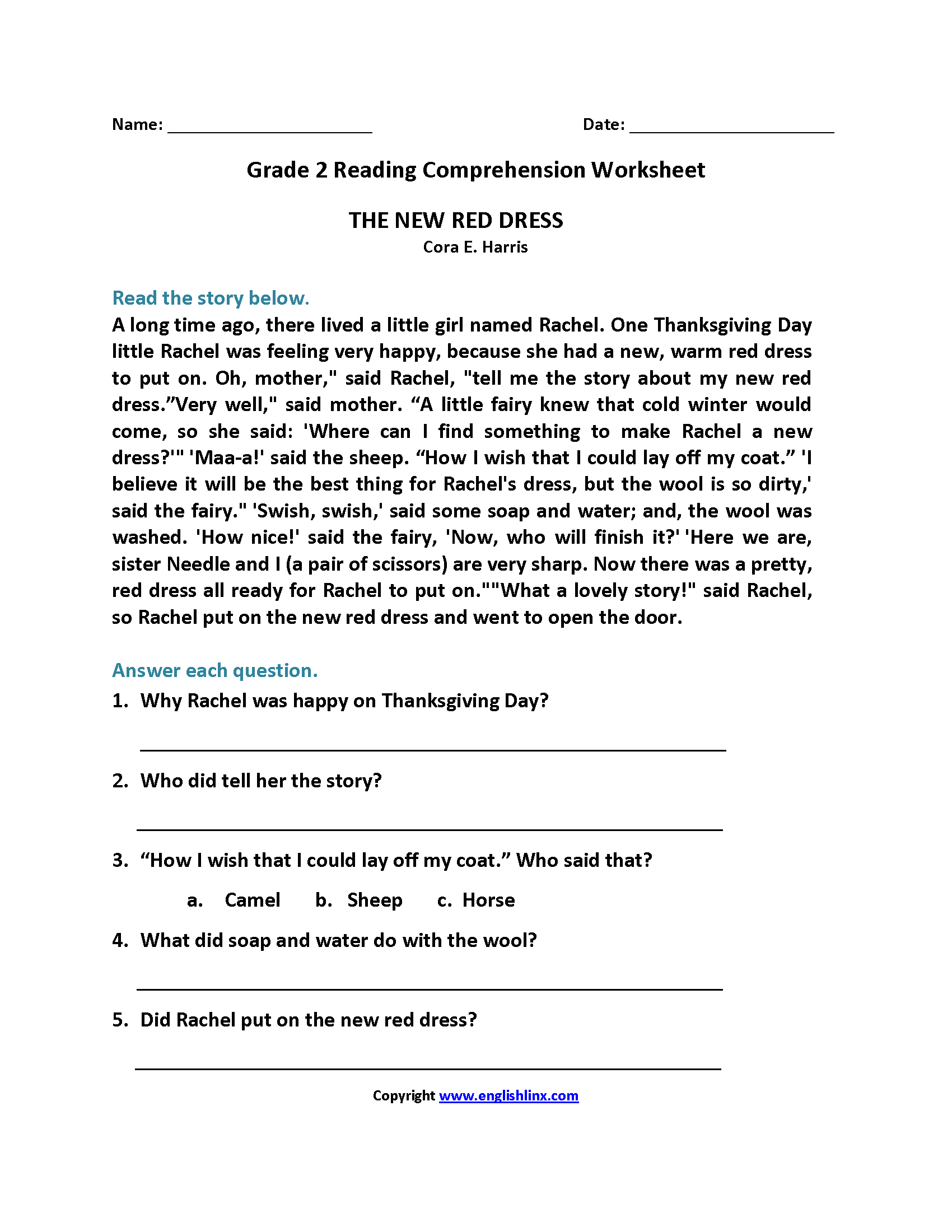 The New Red Dress Second Grade Reading Worksheets