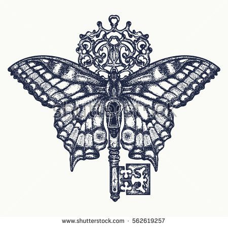eefcca07162ed Butterfly and key tattoo art. Mystical symbol of freedom, spiritual search,  flight, travel. Beautiful butterfly t-shirt design boho style