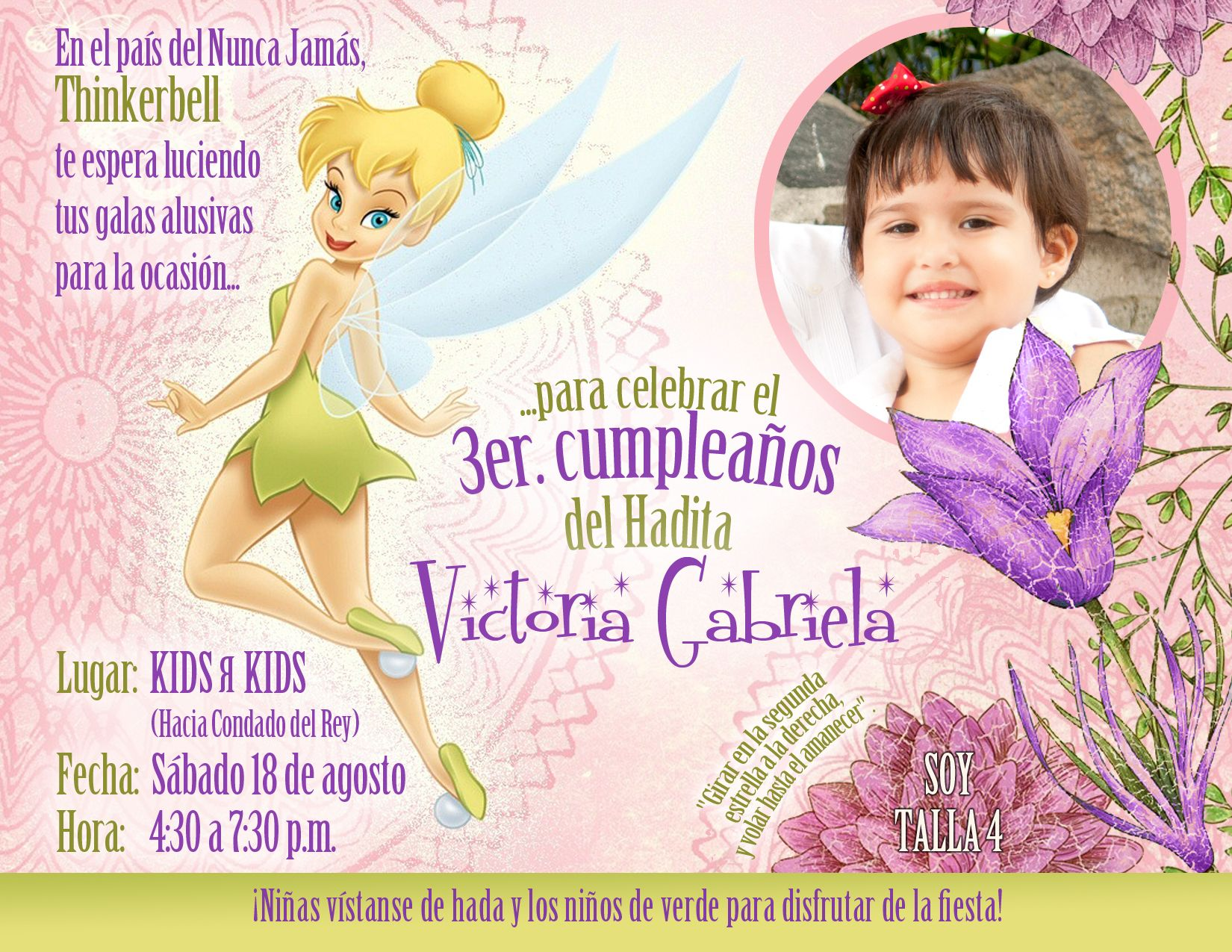 Tarjeta Invitacion Cumpleaños Hadas Tarjetas Invitacion