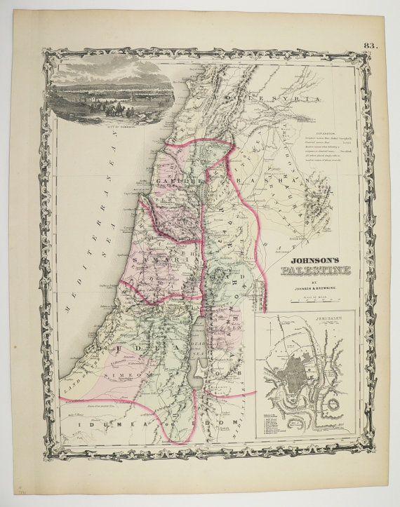 1861 Map Palestine Syria Lebanon Israel Johnson Holy Land Historical Antique Art Unique Wedding Gift For Couple