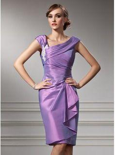 Etui-Linie Off-the-Schulter Knielang Taft Kleid für die Brautmutter mit  Applikationen Spitze Gestufte Rüschen (008005949) in 2019   Lifestyle    Vestidos, ... c81c3d6dc7