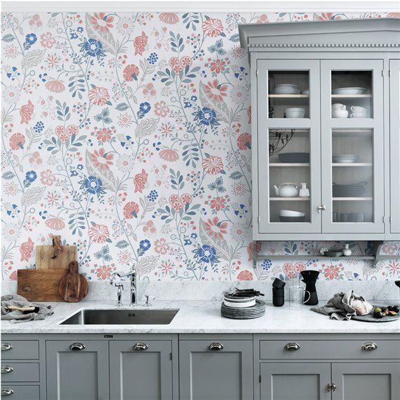 Papier peint Amélie – Motifs fleuris gris, bleutés et rouges