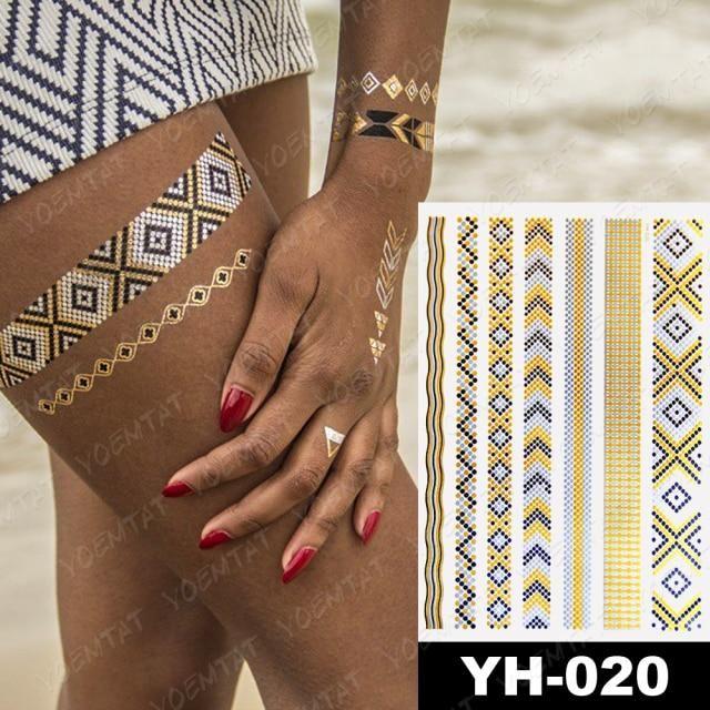 Photo of Waterproof Temporary Tattoo Sticker Metal Gold Silver Black Mandala Flower Jewelry Flash Tatoo Women Henna Body Art Fake Tatto – 09-YH020