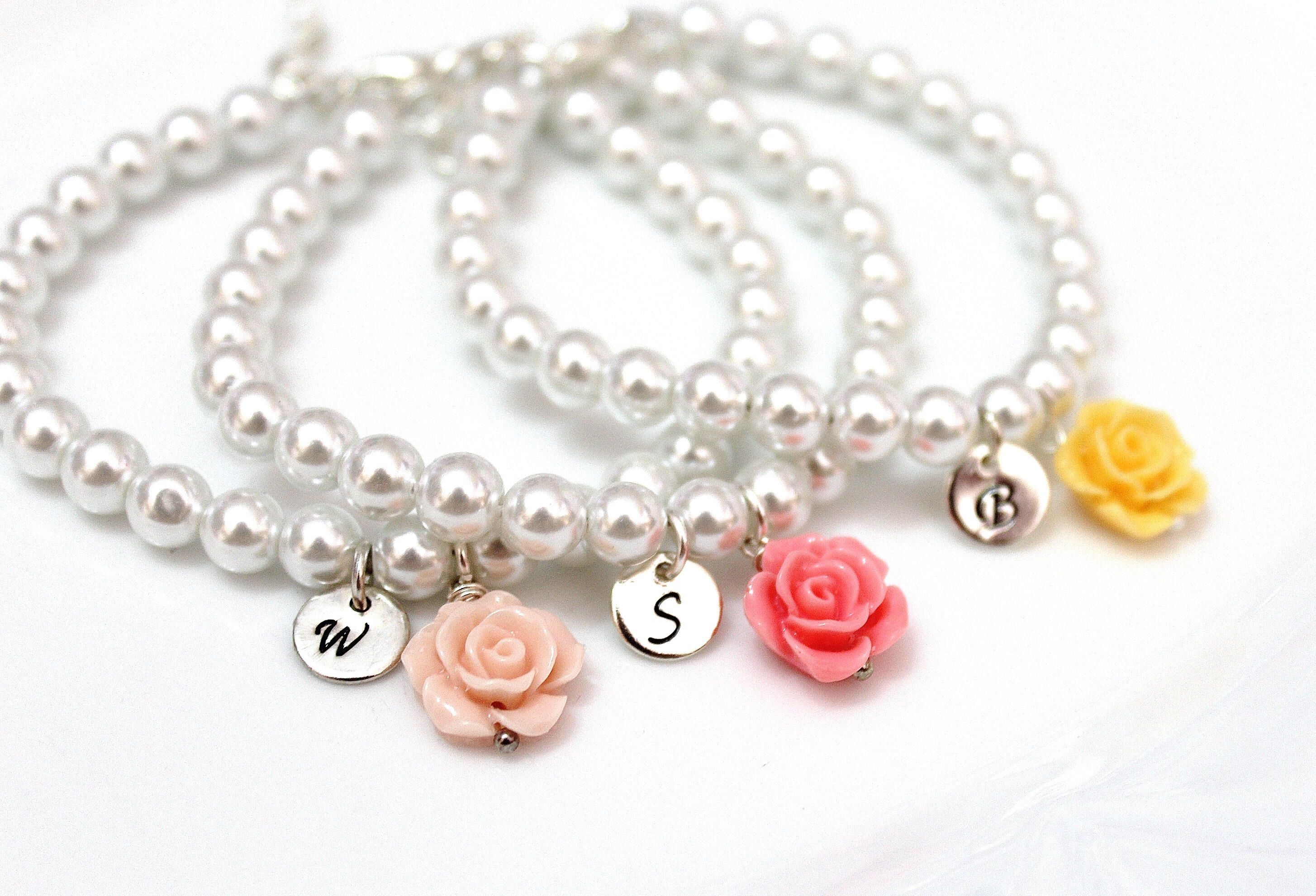 p flowergirl flower girl for or girls colours bridesmaid bracelet asp many with jewels pearls