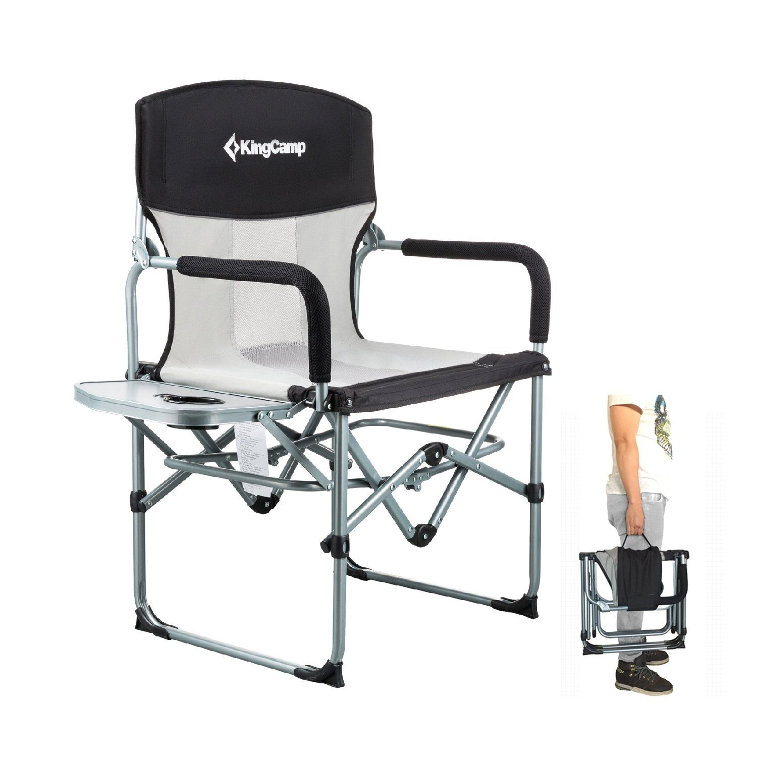 Kingcamp Heavy Duty Compact Camping Folding Mesh Chair With Side Table And Handle You Can Get More Details By Cl Mesh Chair Camping Chairs Camping Furniture