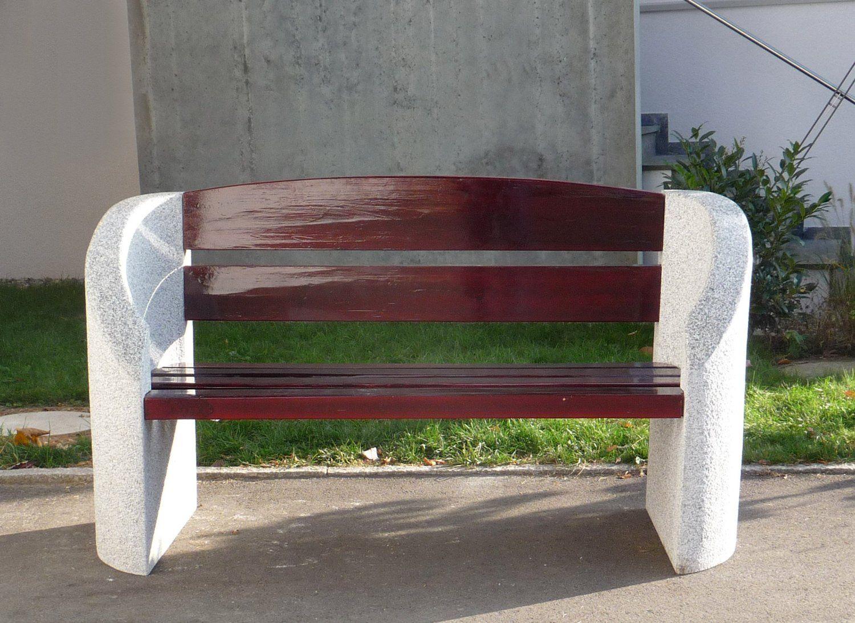 Gartenbank Stein Holz Granitbank Krumbach Grauer