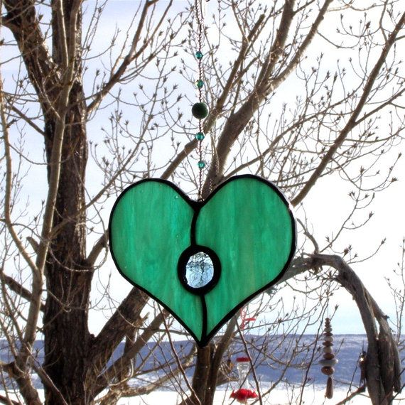 Stained Glass Heart Suncatcher or Ornament by GreenhouseGlassworks, $22.00
