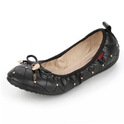 Big Size Heart Metal Check Folded Egg Roll Flat Shiny Ballet Shoes Foldable Ballet Flats Ballet Flat Shoes Womens Ballet Flats