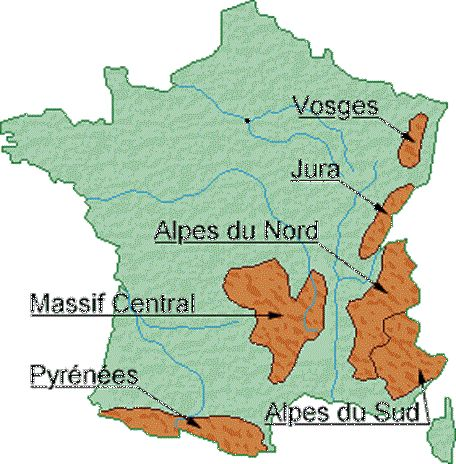 Massifs Montagneux France Avec Images France Montagne Carte