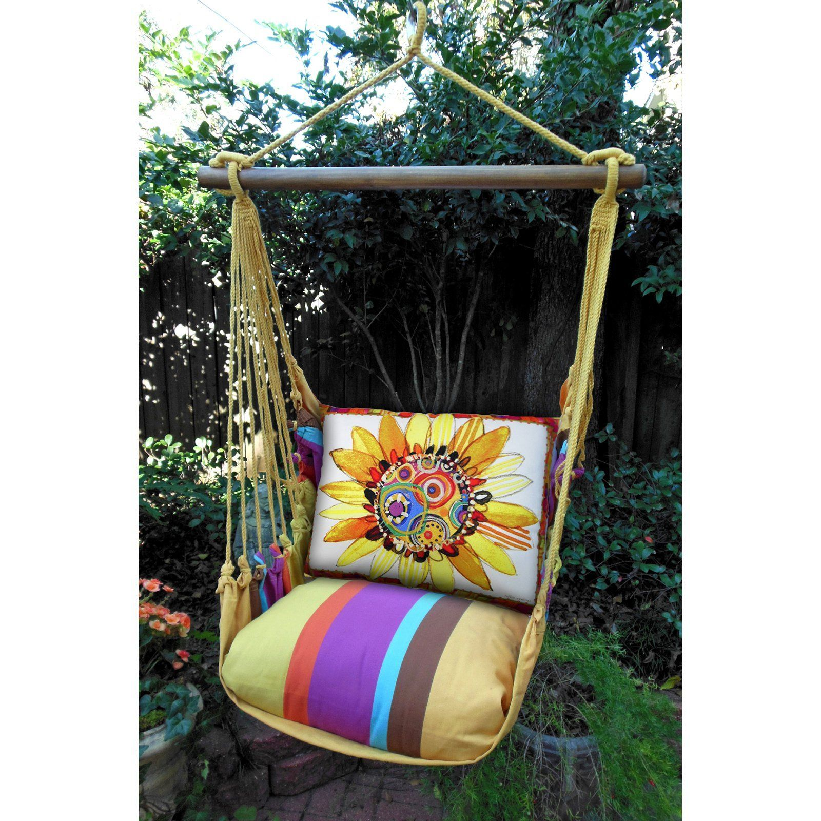 Outdoor Magnolia Casual Funky Sunflower Hammock Chair Pillow Set