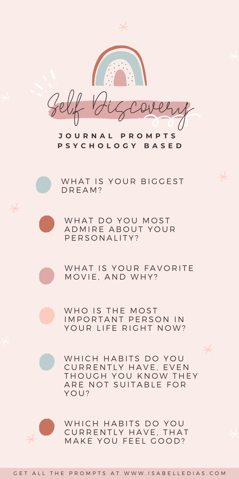 If you are looking for journal prompts on self discovery, I got you! I developed those self discovery questions during my therapy process and they've helped hundreds of my amazing clients! Get your self help journal prompts here and start your self exploration journey today!