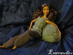 Tricot: Ensemble n°3 (pantalon et top) pour Barbie