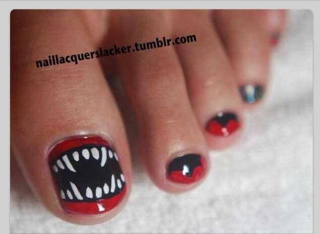 Monster Pedi Halloween Nails Pedicure Nails Pinterest