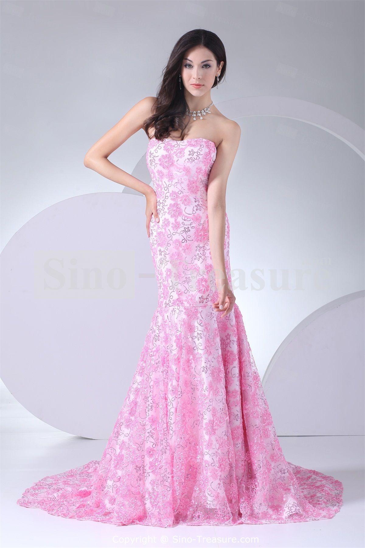 Pink Hourglass Mermaid/ Trumpet Strapless Summer Satin/ Lace Wedding ...