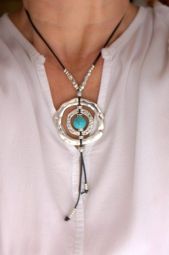 Silver rings necklace with blue turquoise ball Loop necklace for women Leather tassel pendant  Eyeglass necklace Boho style Gift for her
