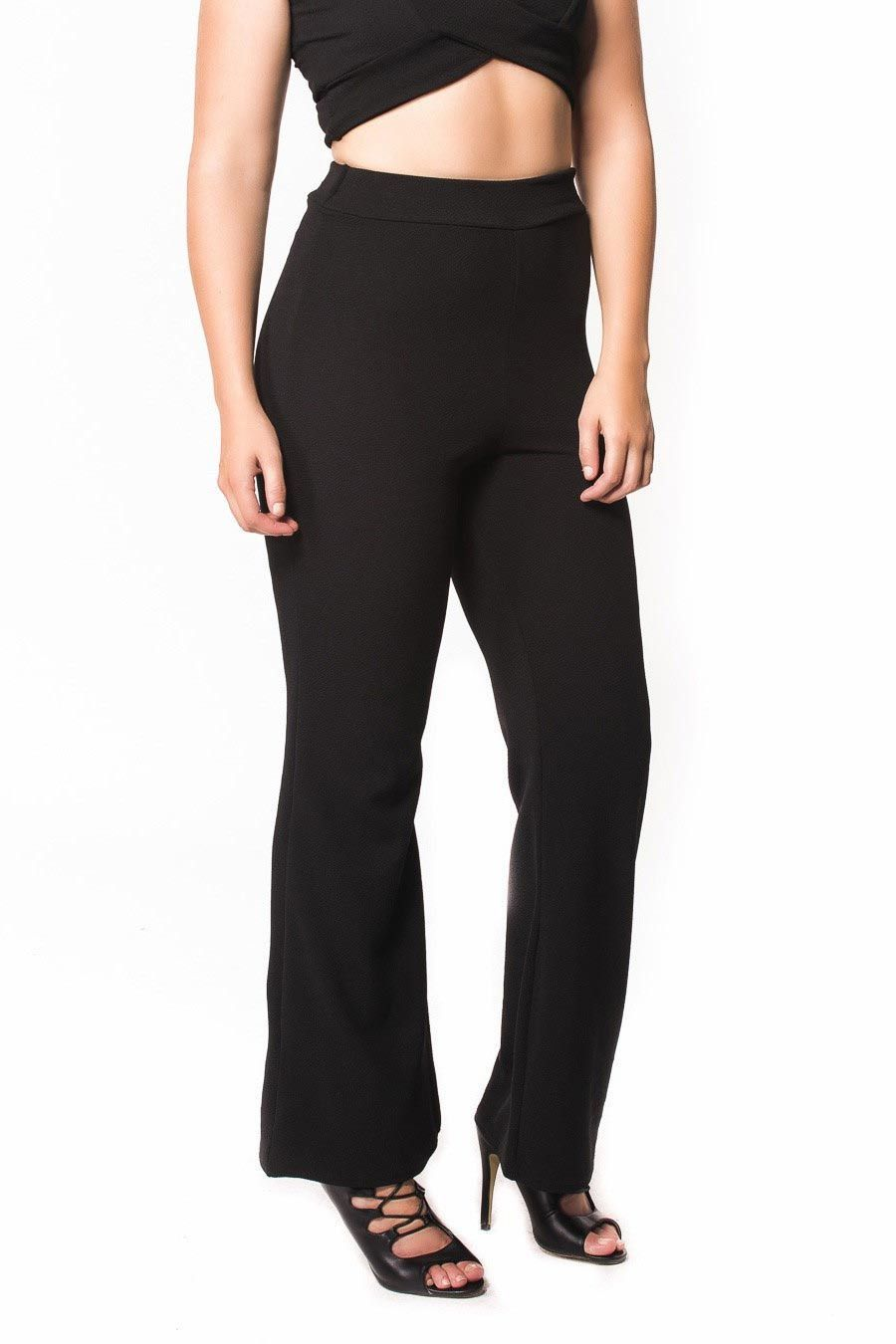 Charlotte Textured Flared Trousers in Black