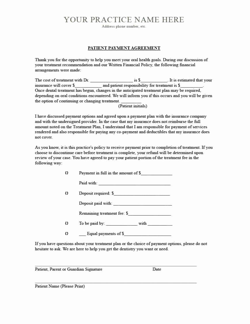 Dental Payment Plan Agreement Template In 2020 Corporate Credit