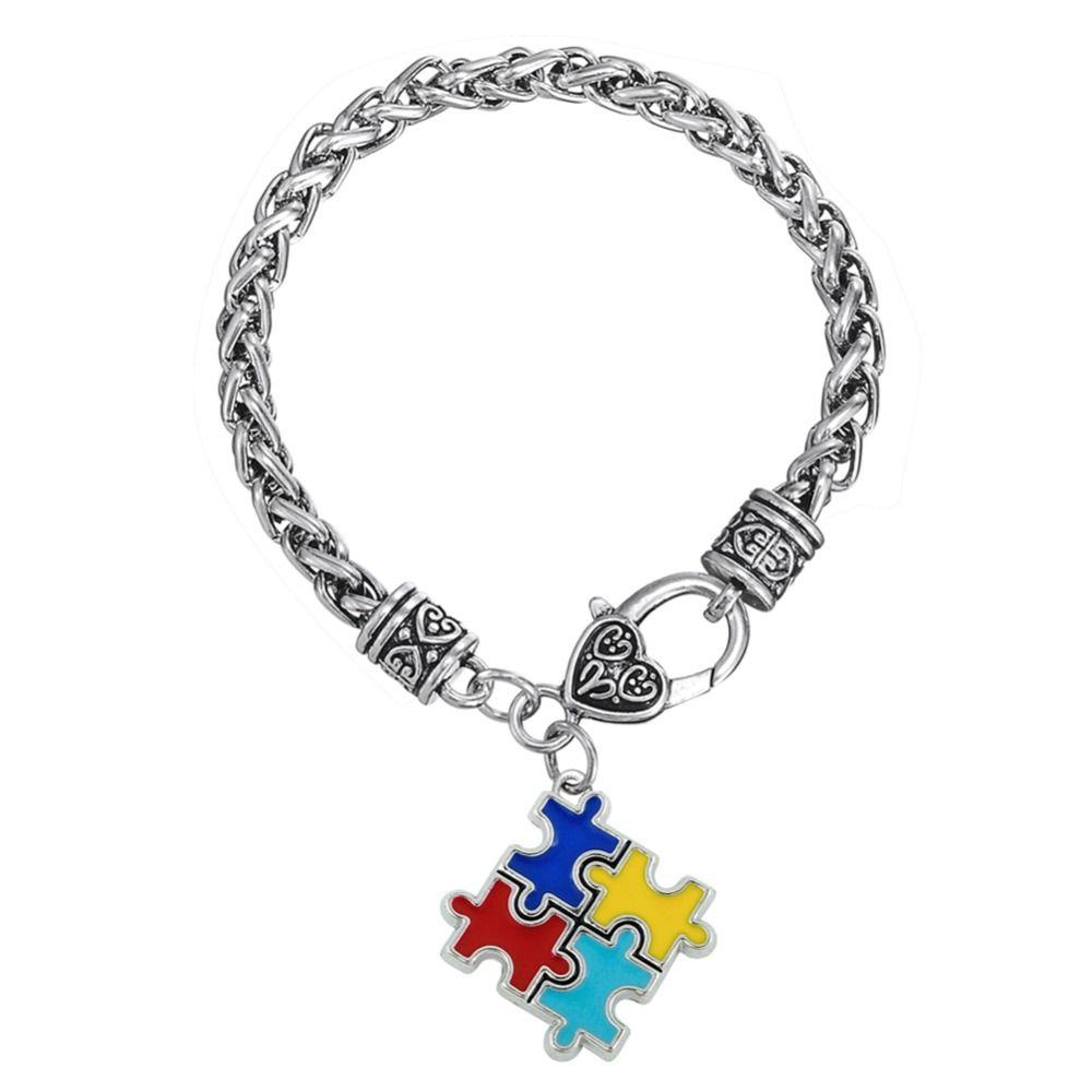 Armbanden en Armbanden zinklegering Emaille Autism Awareness Puzzel Stuk Autistische bedelarmband