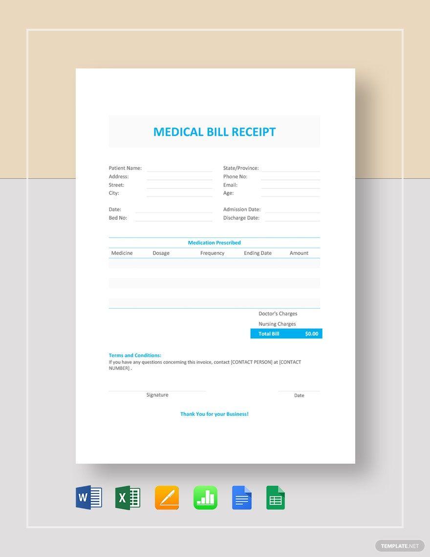 Medical Bill Receipt Template Pdf Word Doc Excel Apple Mac Pages Google Docs Google Sheets Apple Mac Numbers Medical Billing Receipt Template Free Receipt Template